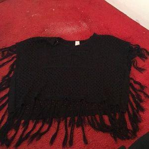 Black lace yarn shirt